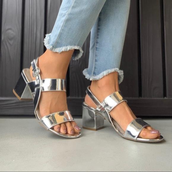 33d52682def Metallic Silver Low Block Heel Two Strap Sandal